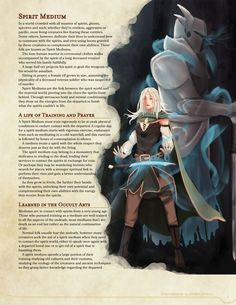 Homebrewing design Homebrewing spirits DnD Homebrew Spirit Medium Class by Kexxar Dungeons And Dragons Classes, Dungeons And Dragons Homebrew, Dnd Characters, Fantasy Characters, Character Art, Character Design, Character Creation, Character Ideas, Science Fiction