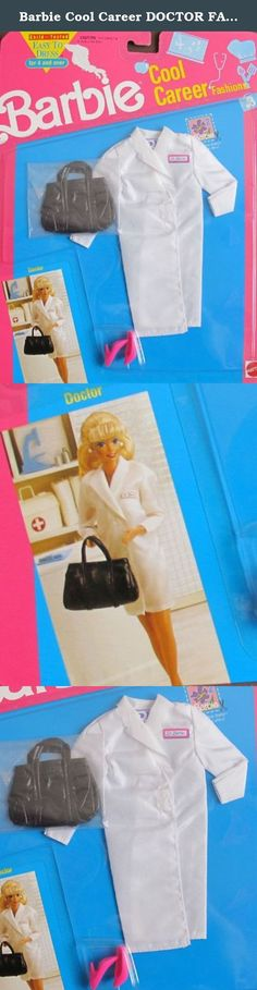 "Barbie Cool Career DOCTOR FASHIONS Easy To Dress ((1991). Easy to Dress Barbie Cool Career Fashions Doctor is a 1991 Mattel production, made in Thailand. CONTENTS: white Lab Coat w/Dr. Barbie decal, Pair of pink Hi Heel Shoes, & a black ""Leather-look"" Doctor Bag. Fashions fit Barbie & other 11.5"" fashion size dolls; NO DOLLS included. Easy to Dress for Ages 4+ Years. All the provided details are to the best of my ability & may not be exact; colors, sizes & details may vary. For Package..."