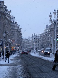 Regent's Street,London. Can't wait to see it covered in snow like this!