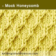 Mock Honeycomb stitch. Free Knitting Pattern includes written instructions and video tutorial.