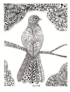 Bird Zentangle- Mrs.Snavely Christmas gift- Quill it!