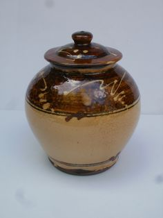 Wood  fired slipware lidded pot, Niek Hoogland, NL.
