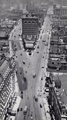 "Times Square, 1905. I know there are lots of pics pinned of Times Square ""as it used to be,"" but this is an especially terrific vantage point. This looks like it's the view from what would now be the Park Central Hotel or thereabouts. Very cool pic. @A Lifetime Legacy"