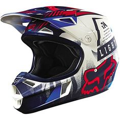 Fox Racing Vicious Youth V1 Motocross Motorcycle Helmet - Blue/White / Small