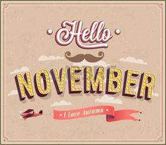 Hello november typographic design. Vector illustration. photo