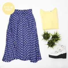 Friday Styling! We're paying homage to the Summer skies by wearing yellow and blue today: http://www.thewhitepepper.com/collections/dresses/products/simple-shift-dress-yellow