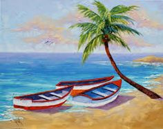 Boat Painting Boat Oil Painting Tropical Beach Painting on Landscape Drawing For Kids, Easy Landscape Paintings, Scenery Paintings, Landscape Drawings, Nature Paintings, Easy Paintings, Landscape Art, Acrylic Paintings, Oil Paintings