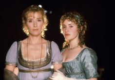 """Emma Thompson and Kate Winslet in Ang Lee's 1995 adaptation of Jane Austen's """"Sense and Sensibility"""" on TCM. Emma Thompson, Kate Winslet, Hugh Grant, Colin Firth, Jim Carrey, Johnny Depp, Hattie Morahan, I Look To You, Jane Austen Movies"""
