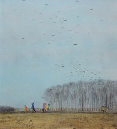 Crows leaving for the South is a painting created by William Kurelek in Find out more at Mayberry Fine Art. Canadian Painters, Canadian Artists, Traditional Paintings, Contemporary Paintings, William Kurelek, Ukrainian Art, Art Brut, Cool Landscapes, Outsider Art
