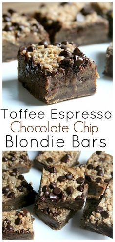 Toffee Espresso Chocolate Chip Blondie Bars - Thick, chewy, and loaded with chocolate/toffee/and a kick of espresso! These are AMAZING!