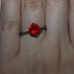 Silver Plated Ring with Red Gem Message me if you have any questions or offers :) - Bundles ✔️ - Trades ✖️ Jewelry Rings