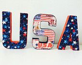 4th of July Decor, 3D Letters, fabric letters, USA decor, Memorial Day Decor, Stars Decor, Flag Decor, American Flag, Patriotic Flag
