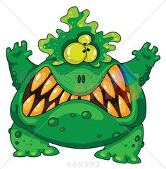 stock illustration of illustration of a terrible green monster