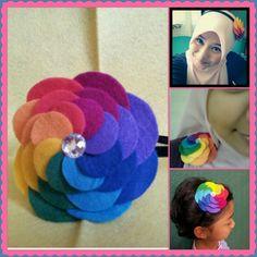 Rainbow flower- 3in1 hair clip/brooch/headband applique