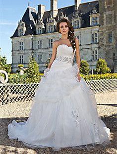 Ball Gown Sweetheart Chapel Train Organza Wedding Dress  – USD $ 247.99