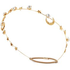 Jennifer Behr Gold-plated Swarovski crystal headband ($300) ❤ liked on Polyvore featuring accessories, hair accessories, hair, gold, swarovski crystal headband, swarovski crystal hair accessories, embellished headband, elastic headbands and star headband