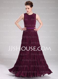 A-Line/Princess Scoop Neck Floor-Length Chiffon Charmeuse Evening Dresses With Sash (017019754)
