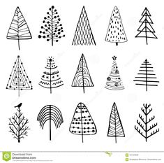 15 designs of doodle christmas trees. to create holiday cards, backgrounds, ornaments, Christmas Doodles, Christmas Art, Christmas Ornaments, Christmas Tree Zentangle, Christmas Icons, Christmas And New Year, Handmade Christmas, White Christmas, Doodle Drawings