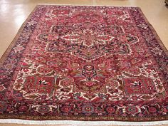 10 x 13 PERSIAN HERIZ Tribal Hand Knotted Wool Traditional RED BLUE Oriental Rug #PersianHerizTraditionalGeometric
