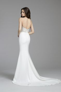 Bridal Gowns, Wedding Dresses by Tara Keely Style 2655 - Diamond white crepe sheath gown, strapless sweetheart neckline with beaded bodice, low back and chapel train.