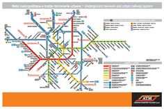 Map of Milan, Italy subway and commuter rail lines