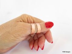 Copper thumb ring, hammered double band adjustable ring