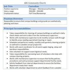 church custodian job description - Church Administrator Salary