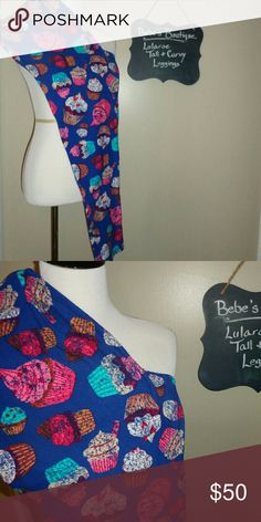 LuLaRoe Tall and Curvy Cupcake leggings Blue Like new, worn once, hand washed and line dried LuLaRoe butter soft leggings in tall and curvy. These fit sizes 12 to 22. Super stretchy and easy to wear with everything, this is your chance to grab these without having to sift through hundreds of popups! These are the RAREST print out there and impossible to find. I paid more than triple retail for them which is why the price is what it is. Price is FIRM. Don't miss these, you likely won't see…
