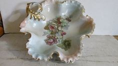 Vintage Porcelain Candy Dish Scalloped Edges Floral by 1560main