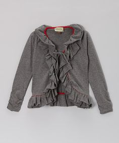Take a look at this Heather Gray & Red Frill Cardigan - Infant, Toddler & Girls by Atelier by Sophie Catalou on #zulily today!