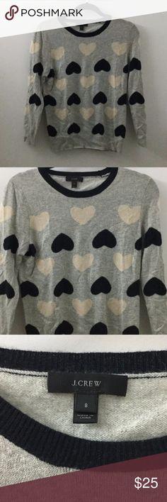 J. Crew heart print sweater size small J.Crew grey sweater with hearts all over, size small J. Crew Sweaters Crew & Scoop Necks
