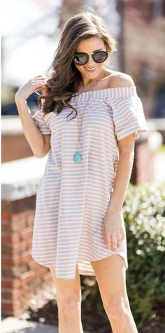 ~~~this will be my go to dress for spring!  Off the shoulder beige and white striped dress with a tortoise pendant necklace.   Stitch fix spring summer trends. Stitch fix jewelry. #affiliatelink
