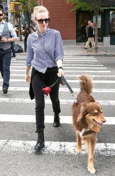'Ted 2' actress Amanda Seyfried takes her beloved dog Finn out for a walk in New York City, New York on May 6, 2014.