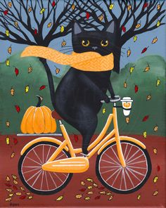 """Black Cat Autumn Bicycle Ride"" -Painted with Golden acrylics. - 10"" x 8"" x 1"" Wrapped Canvas -Topped with two coats of gloss varnish. -Signed, titled, and dated on the back by me! This kitty was ready for autumn! With his scarf, coffee, and pumpkin, he thought it was the purrfect day for an autumn bicycle ride!"
