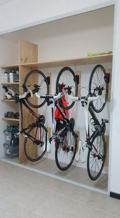 ✔️ 92 Models Of The Best Garage Workshop Organization can find Garage workshop and more on our website.✔️ 92 Models Of The Best Garage Workshop Organization 34 Bicycle Storage Garage, Bike Storage Design, Diy Garage Storage, Shed Storage, Storage Ideas, Bicycle Garage, Bike Storage Room, Garage Storage Solutions, Bike Storage Cupboard