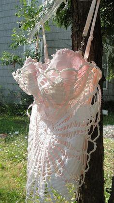 Corset  Bustier Lingerie pink boned french market crochet lace doilies. $44.99, via Etsy.