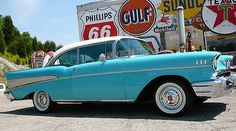 LegendaryFinds - Awesome hot rods and muscle cars from around the web! 1957 Chevy Bel Air, Chevrolet Bel Air, Classic Car Garage, Classic Cars, Vintage Auto, Vintage Cars, Bone Stock, Impalas, Old School Cars