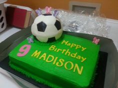 Buttercream sheet cake with fondant soccer ball.   This little girl loves soccer and butterflies, so we put them together and she was so HAPPY!