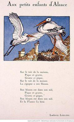 Aux petits enfants d'Alsace Alsace France, Alsatian, Strasbourg, Lorraine, Illustration, Storks, Herons, German Recipes, Birds