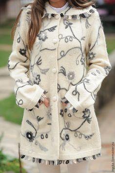 Купить Пальто вязаное 15WJ01 - чёрно-белый, цветочный, вязаное пальто, трикотажное пальто, орнамент