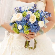 dusty miller and blue wedding bouquets | silver dusty miller and blue hydrangeas
