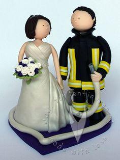 Feuerwehr Brautpaar von www.tortenfiguren.at - Firefighter Weddingcake Topper