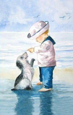Children Illustration Dog Friends 44 New Ideas Art And Illustration, Art Plage, Art Vintage, Beach Art, Dog Art, Vintage Children, Vintage Postcards, Watercolor Paintings, Drawings