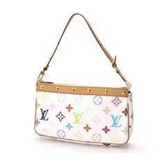 a8d72c646c5d LV Louis Vuitton Monogram Multicolor Pochette Bag Stud Blanc White M92649