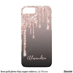 Rose gold glitter drip copper ombre name girly iPhone 8/7 case