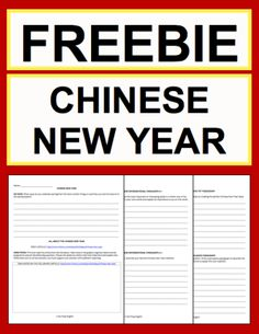 "Chinese New Year Activities: Free Printables: Free NO PREP Chinese New Year student printables. Simply print, project & teach this Chinese New Year!! All you have to do is print the included article link. File includes link to a Chinese New Year History & Traditions Article, Informational Paragraph Reading Response, Informational Paragraph Writing Prompt, Informational ""How To: Paragraph Writing Prompt, Persuasive Paragraph Writing Prompt, Creative Paragraph Writing Prompt, Holiday Acrostic…"