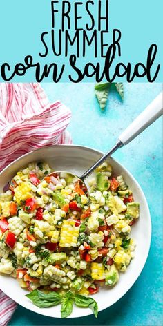 This Fresh Summer Corn Salad is the best side dish to bring to a BBQ, cookout or picnic! It uses fresh summer produce and can be made ahead of time. Cookout Side Dishes, Side Dishes For Bbq, Cookout Food, Best Side Dishes, Side Dish Recipes, Veg Dishes, Potluck Dishes, Corn Salad Recipe Easy, Corn Salad Recipes