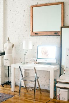 Lucite desk chair | At Home in Love