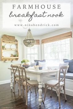 New Farmhouse Dining Room Shelves Breakfast Nooks Ideas Kitchen Nook, Kitchen Decor, Rustic Kitchen, Kitchen Ideas, Kitchen Cabinets, Table Farmhouse, Farmhouse Ideas, Farmhouse Design, Cottage Shabby Chic