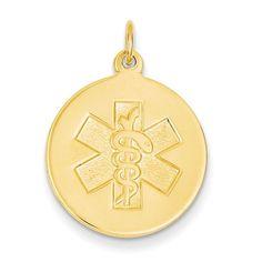 14k Non-enameled Medical Jewelry Pendant XM408N